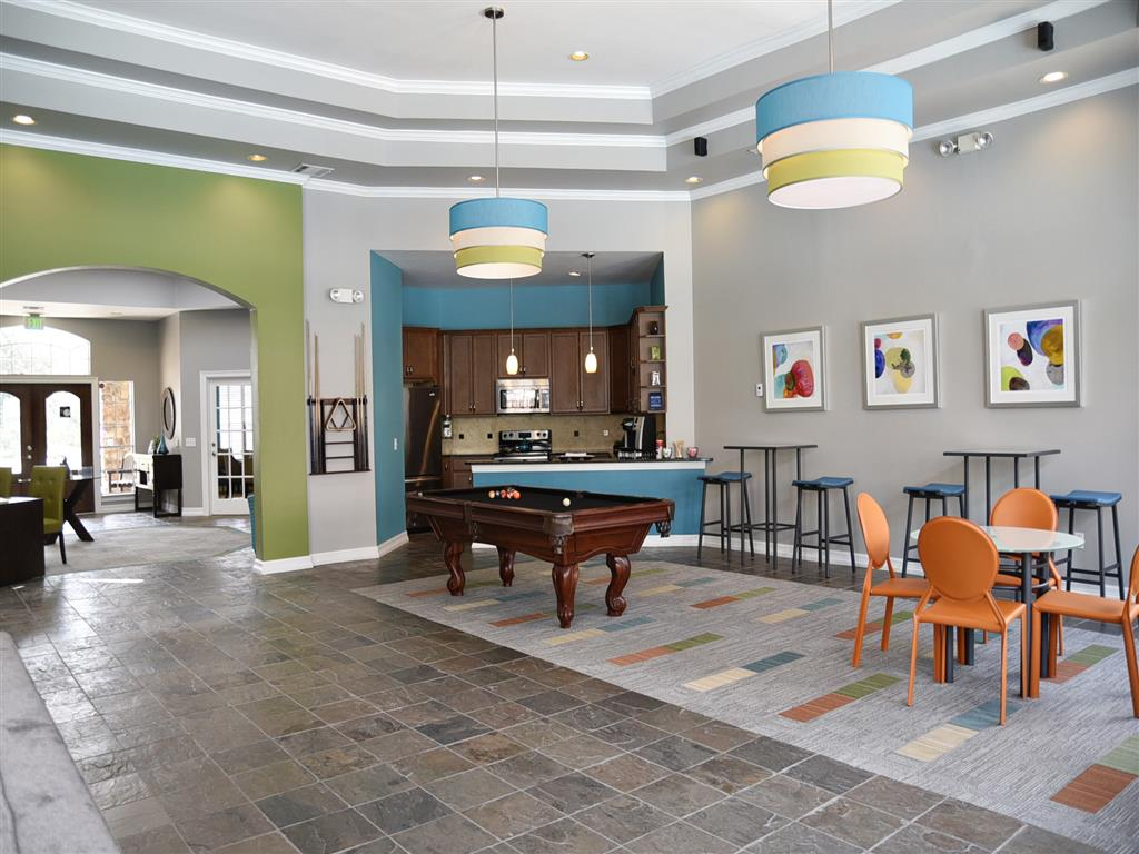 Modern Clubhouse with Kitchen and Billiards Room at Club at Stablechase, Texas