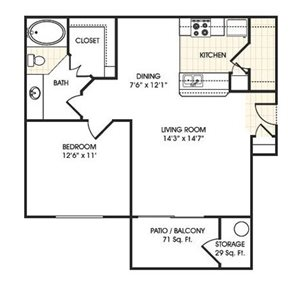 Stonebridge Ranch Apartment Homes for Rent in Chandler, AZ - 1 bedroom apartment floor plan