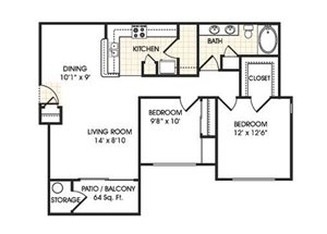 Stonebridge Ranch Apartment Homes for Rent in Chandler, AZ - 2 bedroom apartment floor plan
