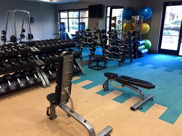 Free weights at The Reserve Apartments in Renton WA