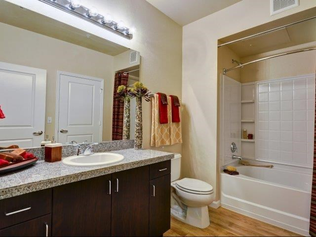 The Reserve Apartments bathroom with granite countertop in Renton, WA