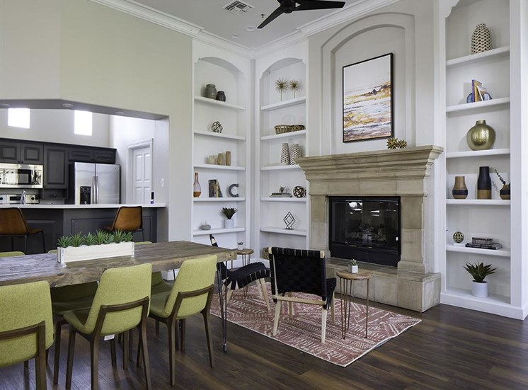 Resident lounge fireplace at Cambria Apartments in Gilbert AZ