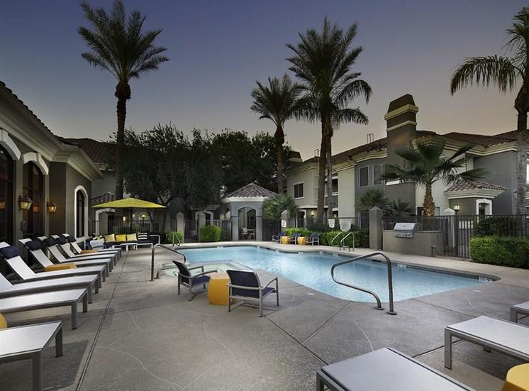 Pool at twilight at Cambria Apartments in Gilbert AZ
