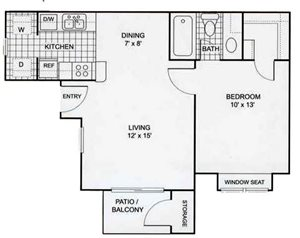 1 bedroom featuring a window seat, 1 bathroom,  living room, dining room, kitchen, walk-in closet, utility closet, and private patio/balcony with storage (565 sq. ft.)