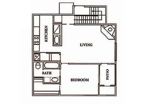 1 bedroom, 1 bathroom with kitchen, walk-in closet, living room, and private patio (600 sq. ft.)