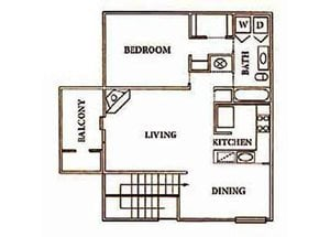 1 bedroom, 1 bathroom with walk-in closet, kitchen, living room, dining space, and private balcony (800 sq. ft.)