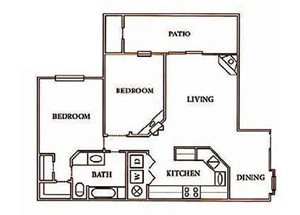 1 bedroom, 1 bathroom with walk-in closet, kitchen, living room, dining space, and large private patio (900 sq. ft.)