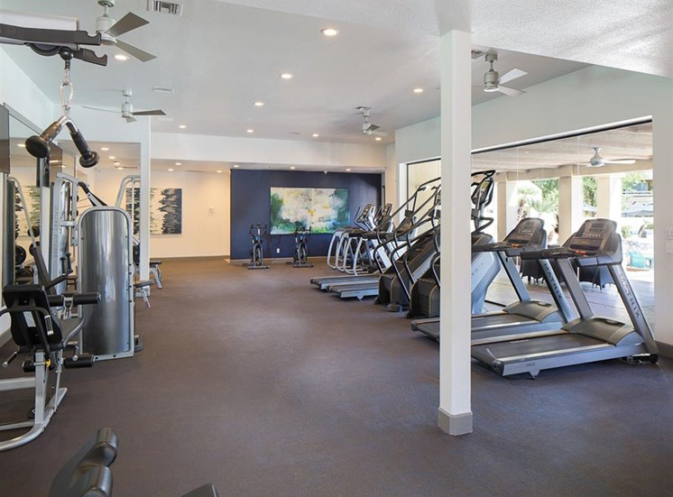 Fitness center at Array South Mountain Apartments in Phoenix AZ