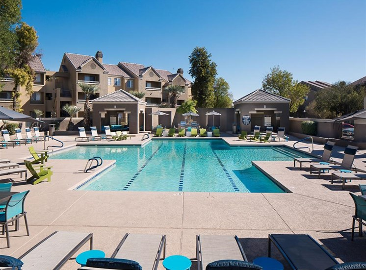 Pool by fitness center at Array South Mountain Apartments in Phoenix AZ