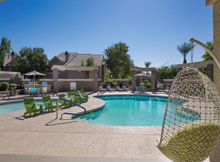 Pool by office at Array South Mountain Apartments in Phoenix AZ