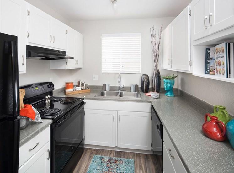 U shaped kitchen at Array South Mountain Apartments in Phoenix AZ
