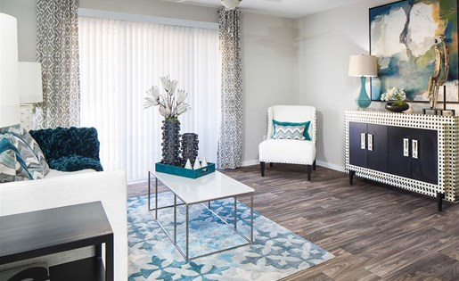 Living room flooring at Array South Mountain Apartments in Phoenix AZ