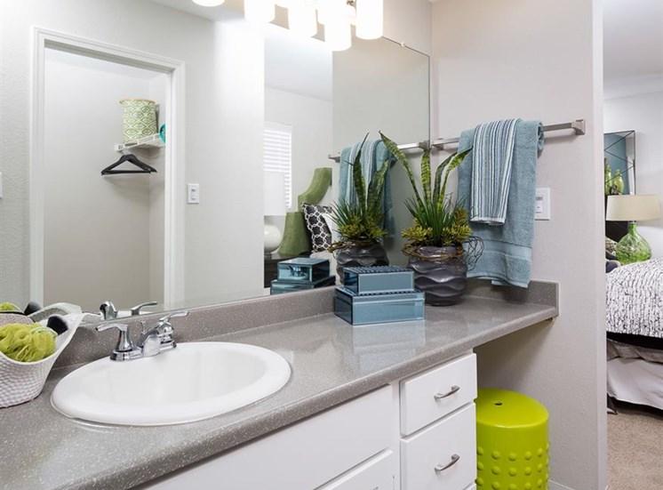Bathroom vanity at Array South Mountain Apartments in Phoenix AZ