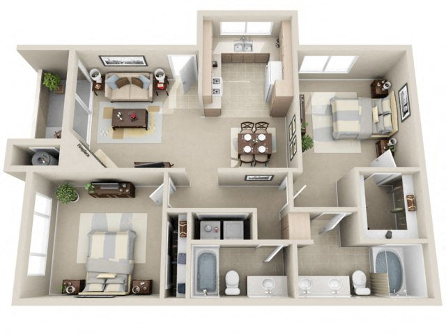 2 Bed 2 Bath b2 Floor plan, at Lakeview at Superstition Springs, Mesa, Arizona