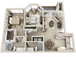 2 Bed 2 Bath b3 Floor plan, at Lakeview at Superstition Springs, AZ, 85206