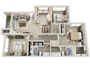 3 Bed 2 Bath c1 Floor plan, at Lakeview at Superstition Springs, Mesa, AZ