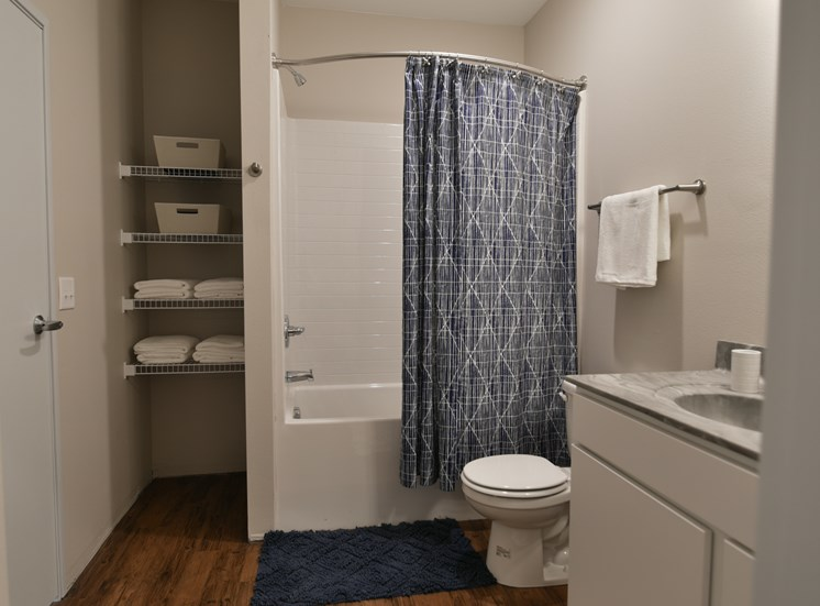 Model Bathroom in CORE Apartments Ames IA