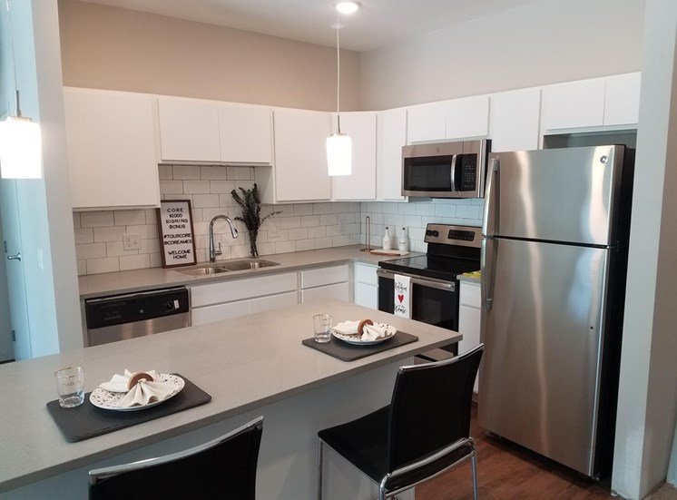 Model Home Open Kitchen CORE Apartments Ames IA