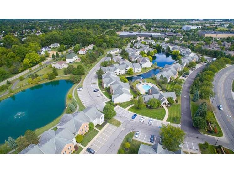 Aerial view at Perimeter Lakes Apartments in Dublin Ohio