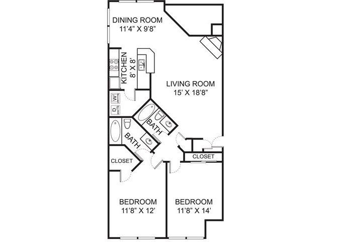 B1 floor plan at Residence at Christopher Wren in Gahanna Ohio