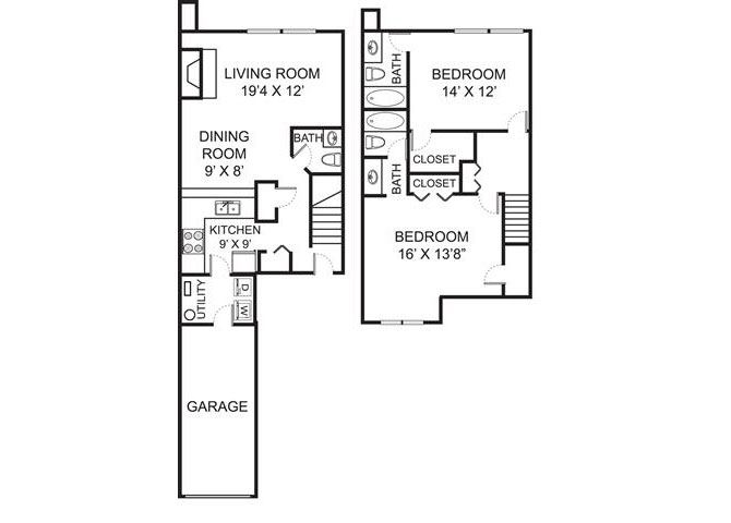 B2TH floor plan at Residence at Christopher Wren in Gahanna Ohio