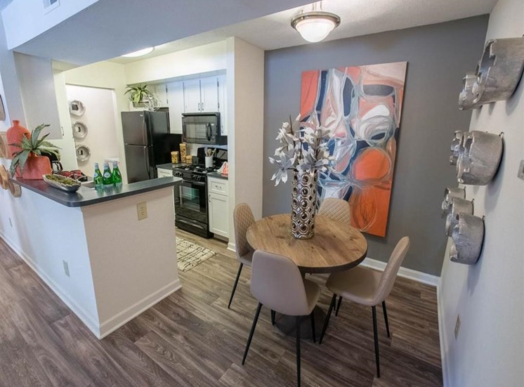 Dining room and breakfast bar at Saw Mill Village Apartments in Columbus, OH