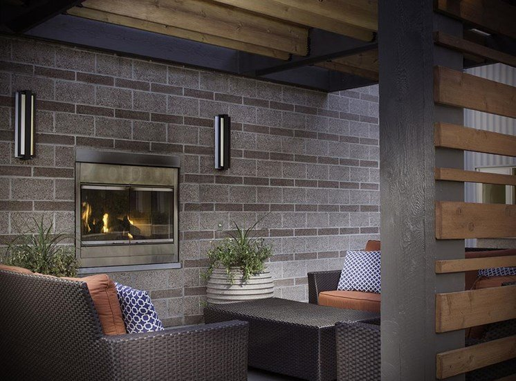 Outdoor fireplace at Talavera apartments in Denver, CO