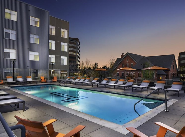 Pool and spa at Talavera Apartments in Denver, CO