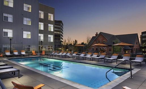 Pool and spa at Talavera Apartments in Denver, CO