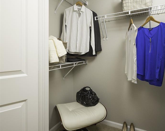 Walk-in closet at Talavera Apartments in Denver, CO
