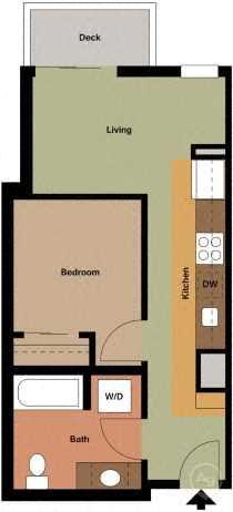 Open 1 Bedroom Floor Plan 2
