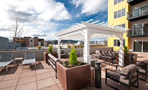 Resident Gathering Area on Terrace at Second and Main, Renton, WA