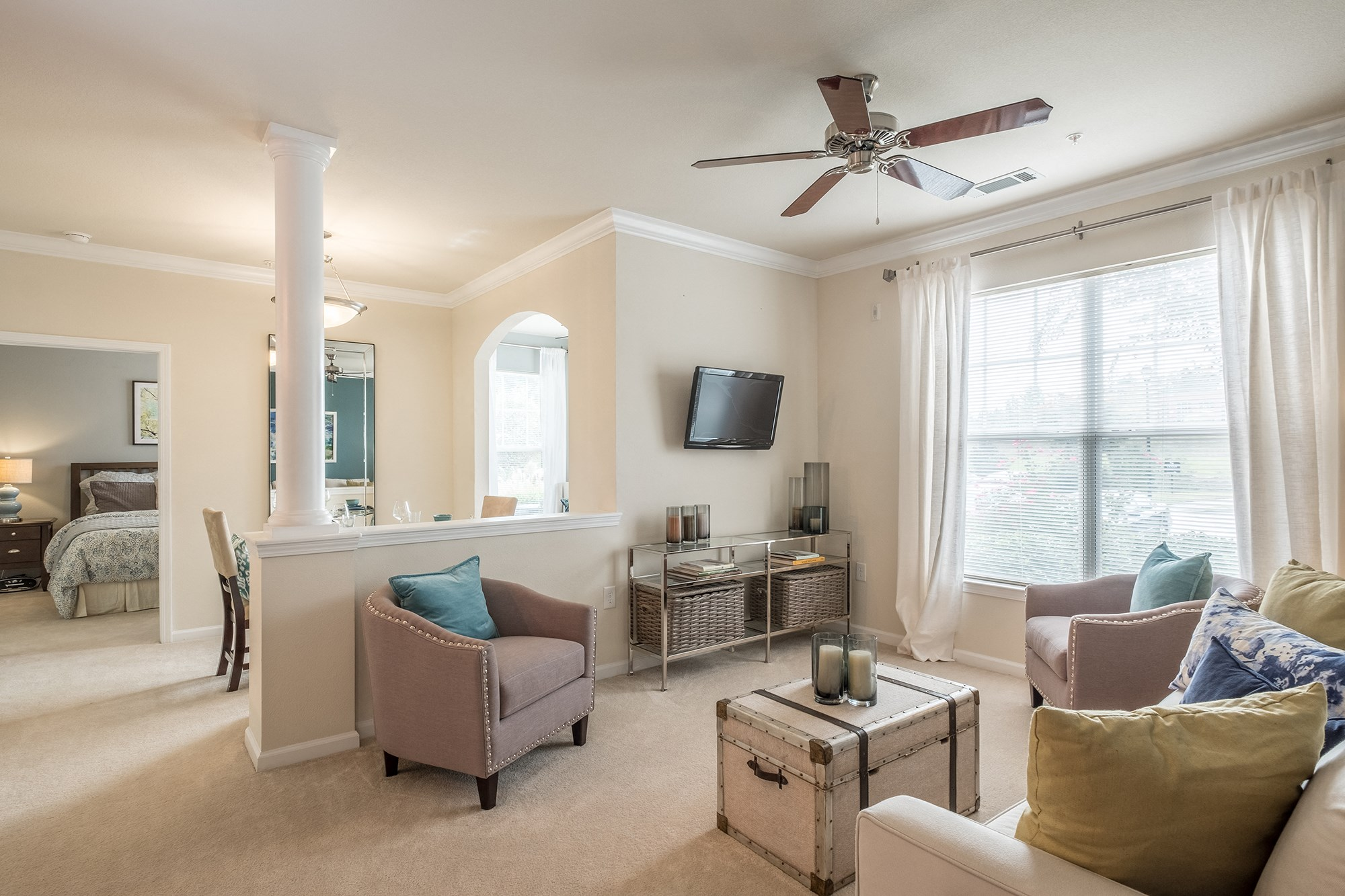 Large Living Room at View at Legacy Oaks Apartments in Knightdale, NC