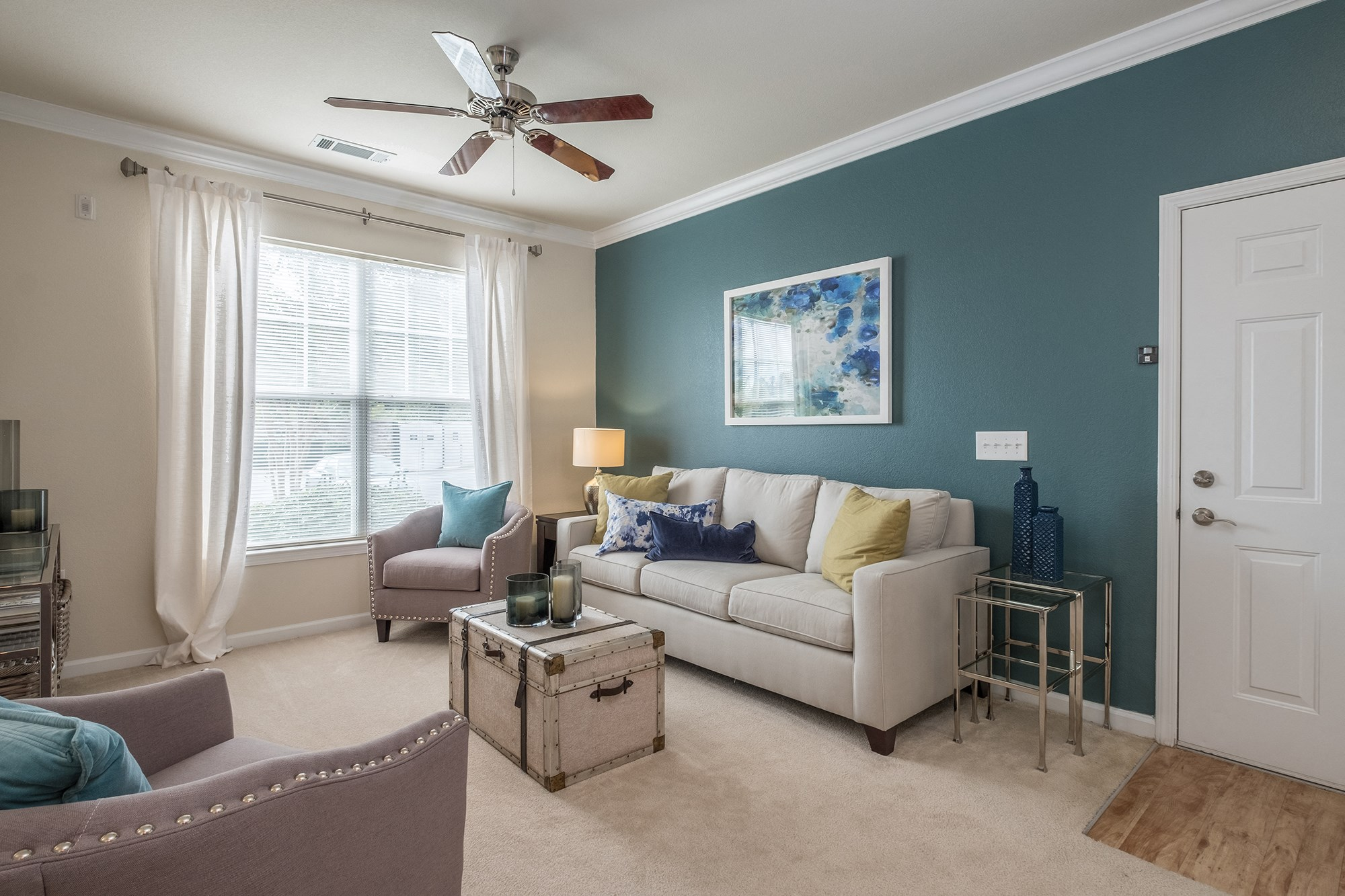 Living Room at View at Legacy Oaks Apartments in Knightdale, NC