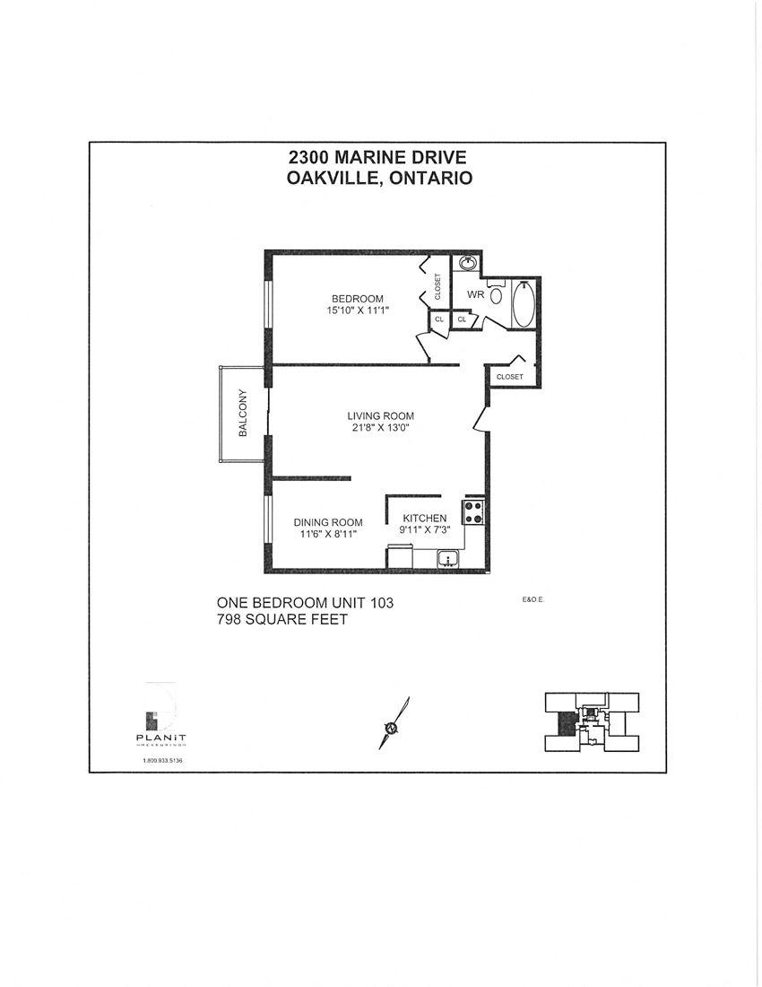 2300 Marine Drive Apartments 1 bedroom + 1 bathroom apartment floor plan in Oakville, ON
