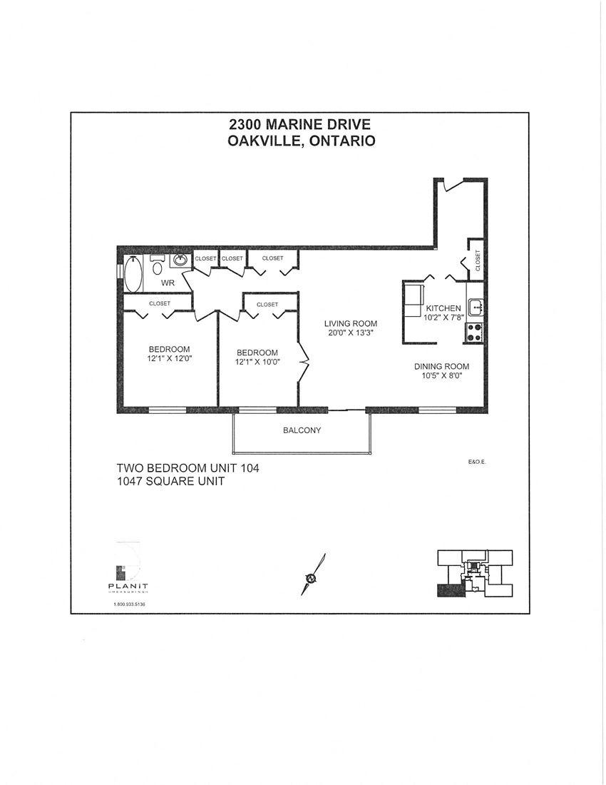 2300 Marine Drive Apartments 2 bedroom + 1 bathroom apartment floor plan in Oakville, ON