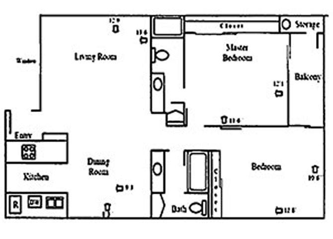 2 Bed 2 Bath Floor Plan 3