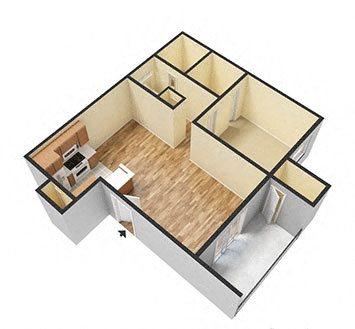1Bed_1Bath Floor Plan 1