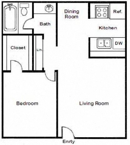One Bedroom Large Floor Plan 3