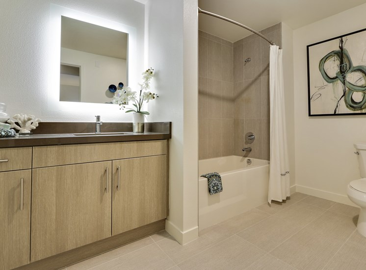 Apartments for Rent in Hollywood CA-Vues On Gordon Apartments Full Tile Bathroom With Bathtub And Backlit Mirror
