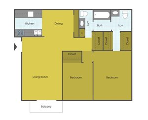Two Bedroom One & 1/2 Bath