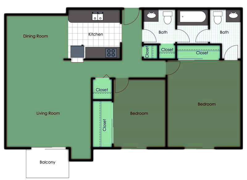 Two Bedroom One and a Half Bath Floor Plan 2