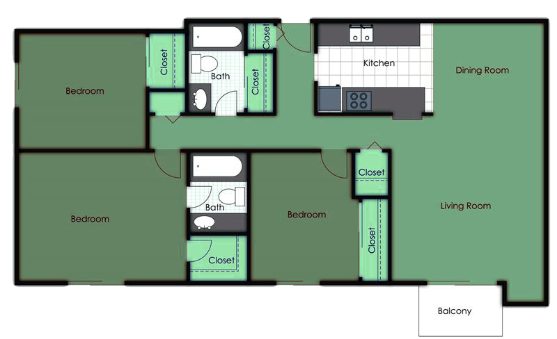 Three Bedroom Two Bath Deluxe Floor Plan 4