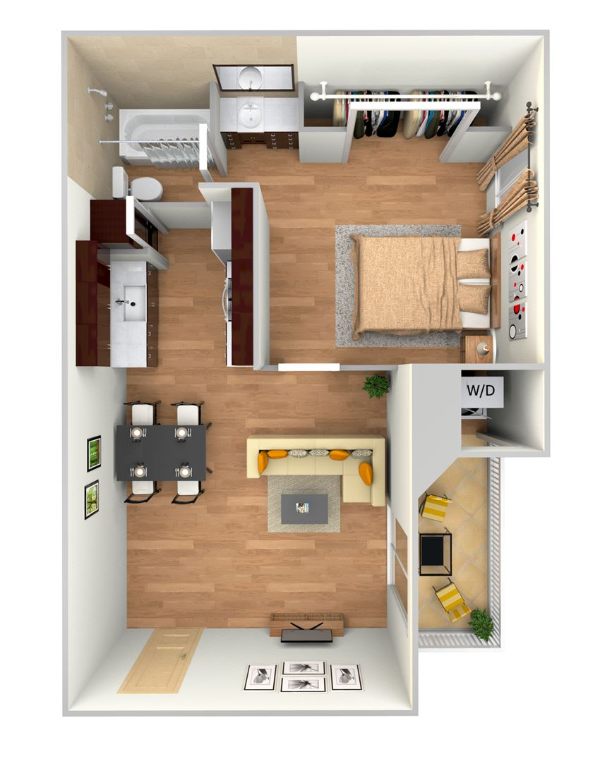 A1-2d floor plan in north austin apartments