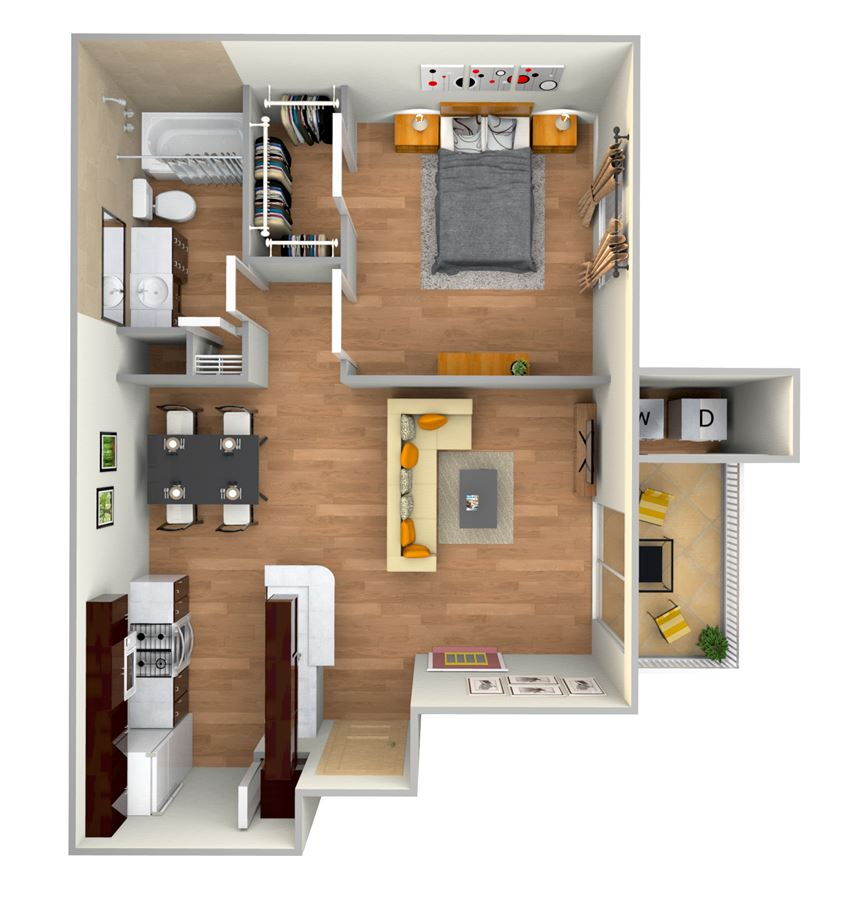 A2-2d floor plan in north austin apartments