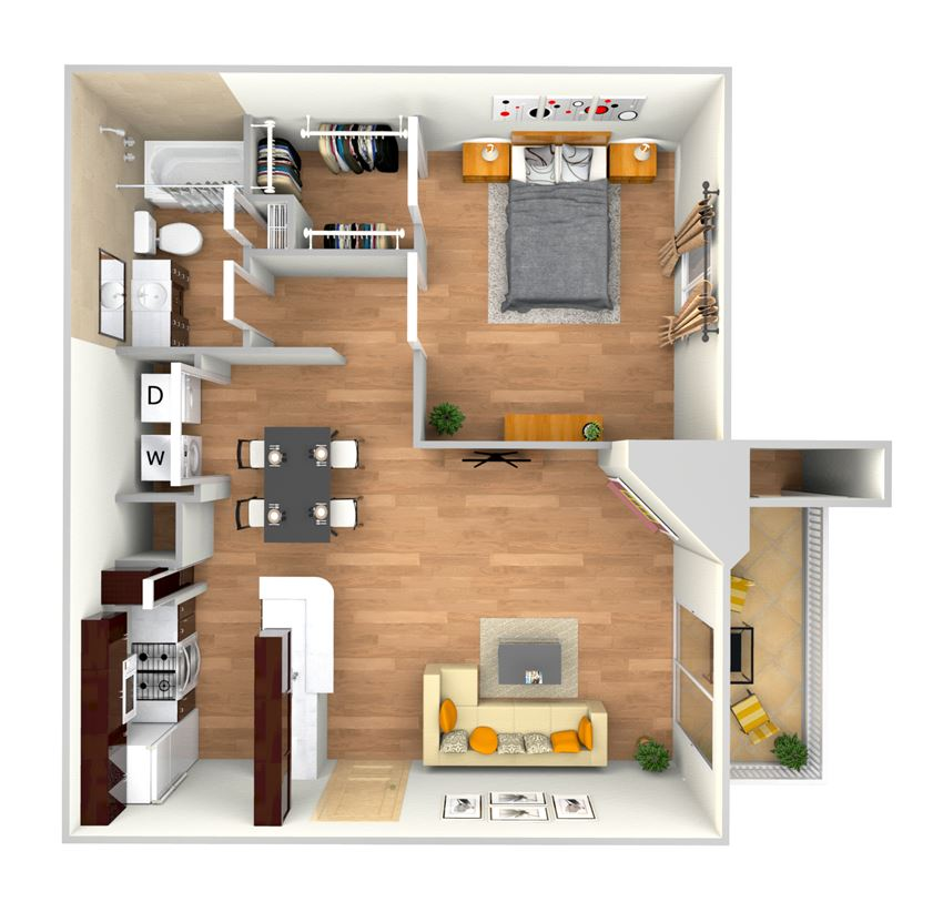 A3-2d floor plan in north austin apartments