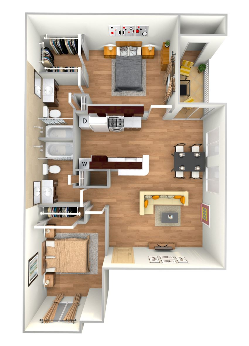 B1-2d floor plan in north austin apartments