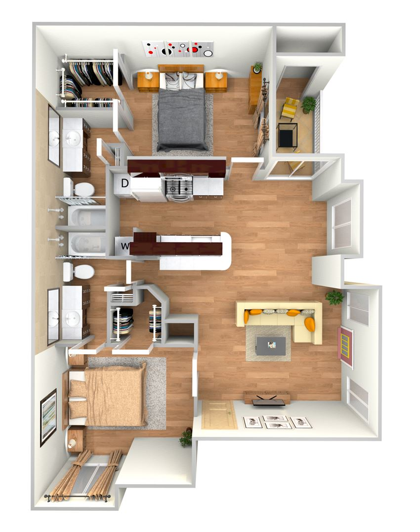 B2-2d floor plan in north austin apartments