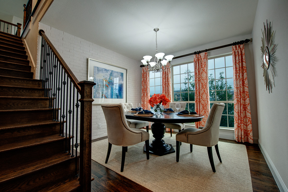 Dining Room with Floor to Ceiling Windows, Cottages at the Realm, Homes for rent in Castle Hills, Lewisville, TX