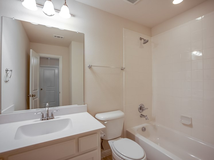 Second and Third Bathrooms at Cottages at the Realm, Homes for rent in Lewisville, Texas 75056